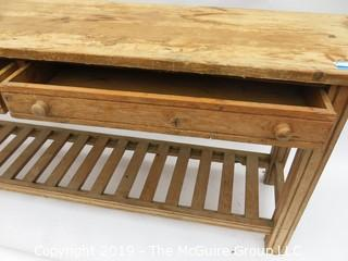 """Distressed Pine Hall Table with Lower Rack and side by side drawers; 72W x 18D x 30""""T"""