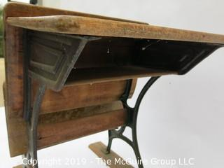 Antique schoolhouse desk/seat mounted on wood runners; 21 x 31 27T