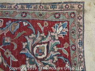 """96 x 118"""" Handwoven rug; needs cleaning"""