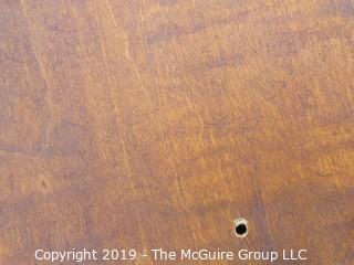 """VERY NICE Oval Top Tiger Maple Occasional Table with Slightly Splayed Turned Legs and Pad Feet.  Top is 33 x 24""""; base is 24W x 21D"""""""