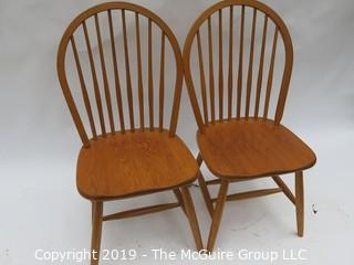 "Pair of Spindle Back Side Chairs; 18W x 17D x 37""T"