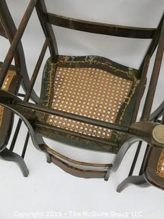 """(3) Stenciled back side chairs with woven seats; 17W x 32T"""""""