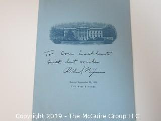 "White House Peace Corp Program inscribed: ""To Cora Lenkhart with Best Wishes, Richard Nixon""; 1969"