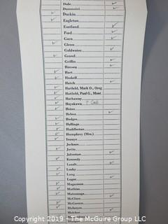 Tally Card of the Roll Call Vote in the U.S. Senate, 6pm, April 18, 1978 re Panama Canal 2nd Treaty, which passed 68-32