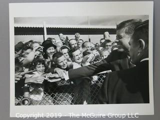 8 x 10 B&W Photo of President John F. Kennedy campaigning in the Midwest for fellow democrats; October 1962; photo by Arthur Rickerby