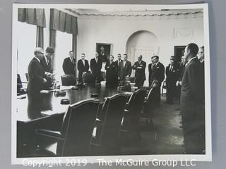 8 x 10 B&W Photo of President John F. Kennedy and his cabinet in the White House June 7, 1962;  photo by Arthur Rickerby