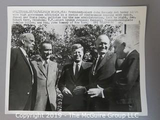 8 x 10 B&W Press Photo of President-Elect meeting 12-26-60 with Sen Kerr, LBJ, Dillon, and John Rooney, photo by UPI