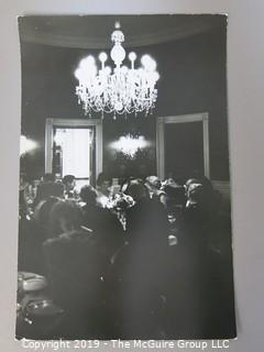 "8 1/2 x 13"" B&W Photo of White House Dinner 29Apr62 of President John F. Kennedy and the First Lady for 49 Nobel Prize Winners at The White House where JFK Quipped: ""This is the greatest gathering of knowledge and talent in the White House since Thomas Jefferson dined alone"" ; photo by Arthur Rickerby"