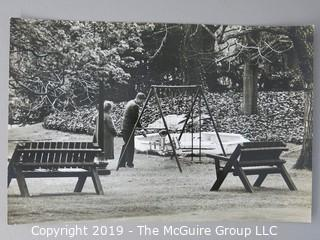 8 1/2 x 12 1/2 B&W Photo of President Kennedy Playing with JFK Jr. at White House; photo by Arthur Rickerby