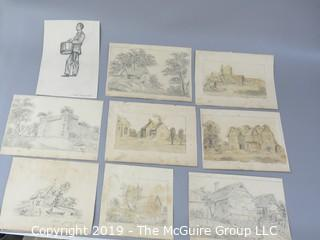 "Collection of 8 x 10"" Pencil Sketches on Paper from the early 1800's; some signed"