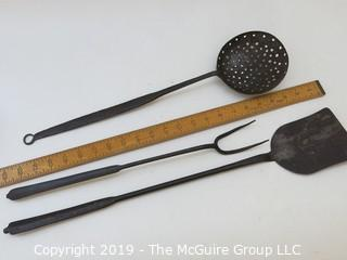 (3) Hand Forged Hearth Cooking Tools