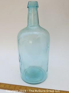 Large Aqua Blue Glass Bottle