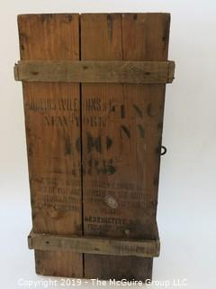 "Covered Wooden Box w. Hinge; stenciled ""Benedictine Liquor"", France"