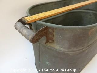 Double Handled Oval Copper Tub; needs re-soldering of bottom side seam