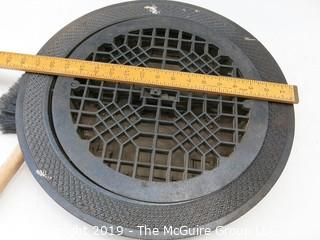 Circular Cast Iron Floor Mounted AirFlow Grate with adjusting lever underneath. Could be repurposed into a cool little table?