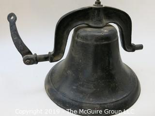 "LARGE farm/school cast iron bell; complete with ""Crystal Metal #2"" mounting bracket and clapper"