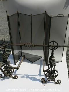 "INCREDIBLE Oversized fireplace screen and ORNATE hand-forged ""twisted"" andirons; including cross piece (look closely)Google/eBay"