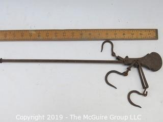 Antique 'Steelyard' style fulcrum balance scale (w/ basket & weight not shone) embossed