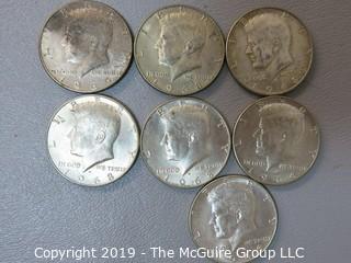 (7) JFK Half-Dollars; 1965-1970