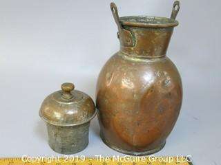Hand Hammered, Doubled Handled Copper Jug with deep lid