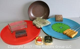 Collection including keepsake boxes, agatized wood bowl and ice picks