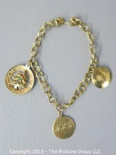 14k Yellow Gold Charm Bracelet; 13g