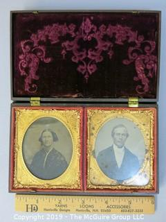 Male and Female Daguerreotypes set in Thermoplastic Case