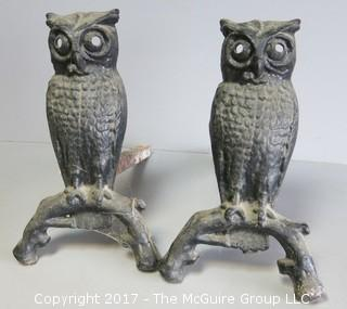 "Pair of Owl form fireplace andirons 14"" tall"