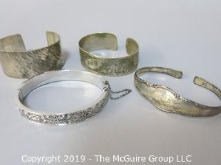 Collection of Jewelry including 4 sterling bracelets; 100g