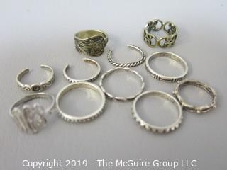 Collection of Jewelry including rings, sized 5-8