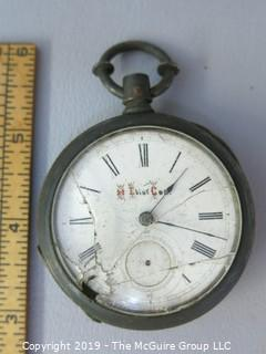 "1881 Illinois Watch Co. pocket watch w/broken crystal, missing secondhand; personalized ""H. Eliot Coe"", sterling case; total weight 155g Steampunk"