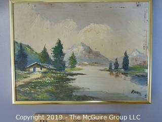 "Framed Oil on Canvas; Alpine Landscape; signed ""Bartels"", lower right; 8 x 10"""