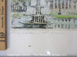 Original Handcolored Engraving, German Cityscape; Framed; pencil titled and signed