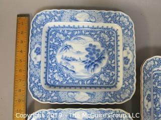 (3) Square Form Chinese Ceramic Plates; mark on base