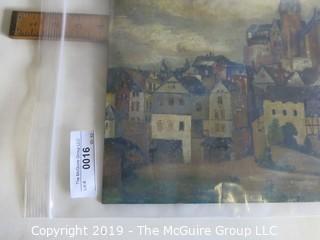 """""""Villagescape""""; OIl on Masonite; signed """"A. Rudday '13""""; 11 x 13"""""""
