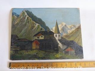 "Alpine Village Scene; oil on artists board, unsigned; 12 x 16"""