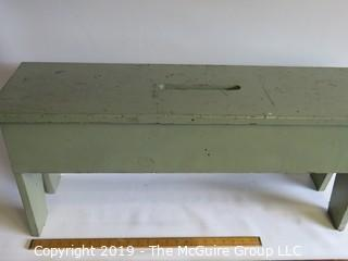 Green Painted Wooden Bench; 12W x 15T x 36L