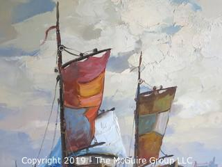 """""""Seaport Harbor""""; Oil on Canvas""""; signed lower left; 20 x 39 1/2"""""""