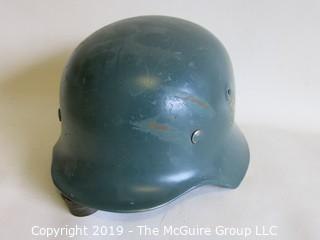 Metal German style helmet w/leather insert
