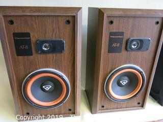 "Pair of Cerwin-Vega 2-way AT-8 Speakers; 1992; 10 1/2""Deep x 12""W x 21""Tall"