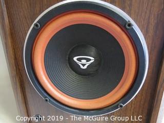 "Pair of Cerwin-Vega 2-way AT-8 Speakers; 1992; 10 1/2""Deep x 12""W x 21""Tall"