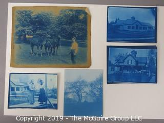 Photos: Historic: Unaccredited: Cyanotypes: Houses; Young ladies; Man with Three Camels