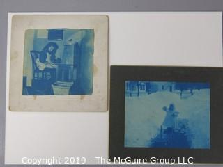 Photos: Historic: Unaccredited: Cyanotypes: Architecture, Girl at Desk, Girl at Desk; Child in Snow