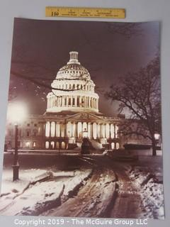 Photo: Historic: Americana: uncredited night shot of US Capitol Building in wintertime