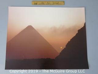 Photo: Historic: Art: large format on board, color photo of Pyramids in Giza Egypt at sunset-sunrise?