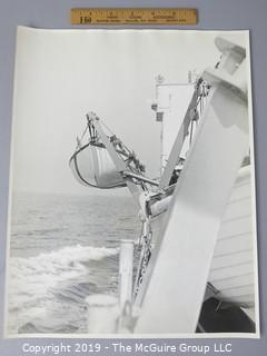 Photo: Large Format B&W: Historic: Art: Unaccredited: Lifeboat hanging from ship