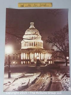 Photo: Historic: Americana: unaccredited night shot of US Capitol Building in wintertime