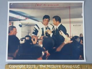 Photo: Large Format Color: Historical: Sports: Football: Frank Gifford Interviewing NY Jets Quarterback Joe Namath Following Their Upset Super Bowl Victory Over the Baltimore Colts; newspaper editing format
