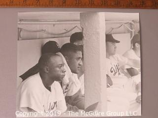 Photo: Large Formar B&W; Arthur Rickerby: Historical: Baseball: Brooklyn Dodger's dugout during game. Several players: Sandy Amoros? Don Newcombe, Duke Snyder