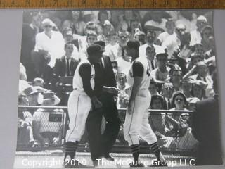 Photo: Large Format B&W: Arthur Rickerby: Sports: Baseball: Pittsburgh Pirates players Sharing a Laugh; possibly Roberto Clemente and Micky Vernon